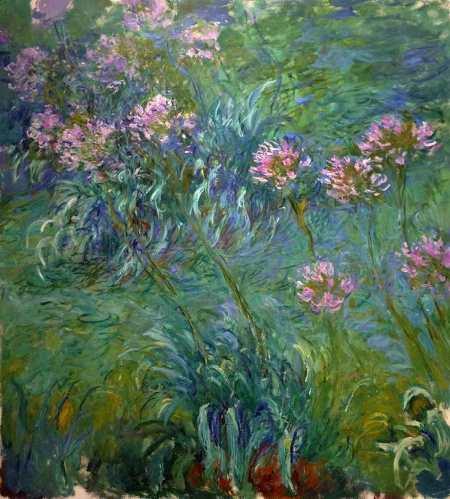 """Agapanthus, Claude Monet, 1914-26, 6' 6"""" x 70 1/4"""", oil on canvas"""
