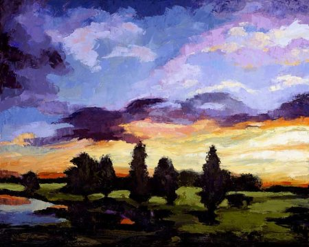 """Dawn at the Pond"", Boulder, oil, collection Frank and Nancy Caccavallo"