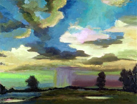 """Downpour Over Niwot"", oil, 14"" x 18"", Karen Gillis Taylor"
