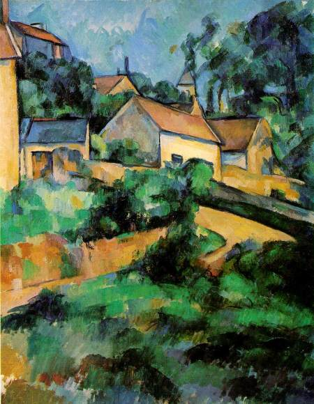 """Turning Road at Montgeroult , Paul Cezanne, 1899, 25 1/2"""" x 20 1/2"""", oil on canvas"""