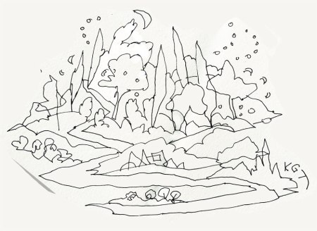 Island landscape? Pen and ink, Strathmore padIsland landscape?