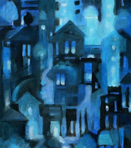 "Underpainting for ""October City"" painting, KGT, 2013"