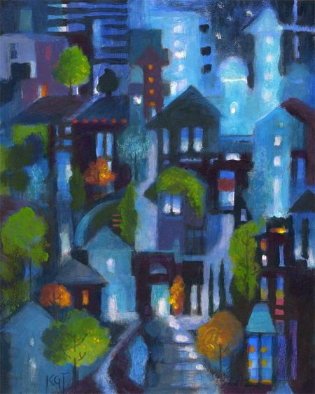 "October Night City 2013, KGT, 8"" x 12"", acrylic"