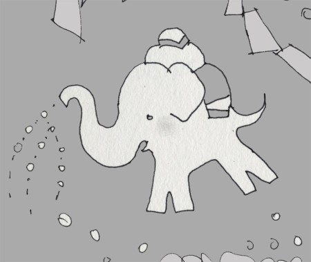 White elephant, just for fun. Actually, the idea to draw him came from the saxaphone shape.