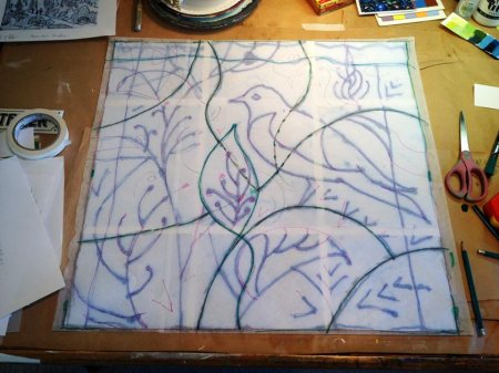 "Bird drawing enlarged for transfer to the 24"" x 24"" size painting surface."