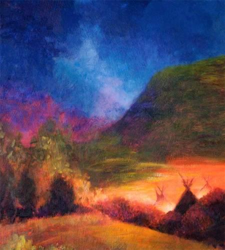 Chief Niwot Encampment at the Creek, Detail, Karen Gillis Taylor