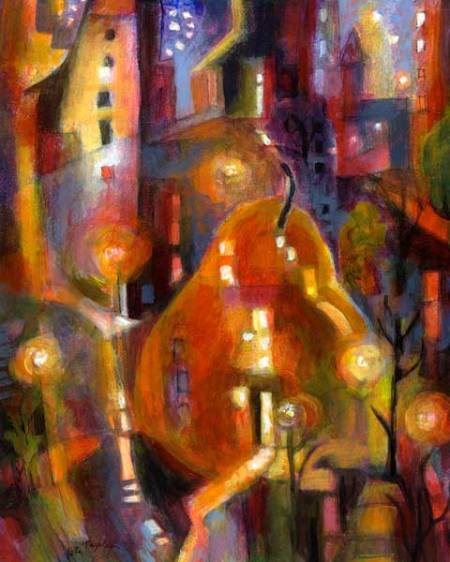 "Pear in the City, 8"" x 10"", acrylic, Karen Gillis Taylor"