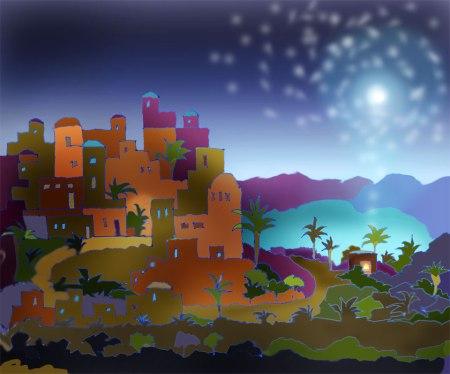 """Bethlehem"", ink drawing and Photoshop, KGT"