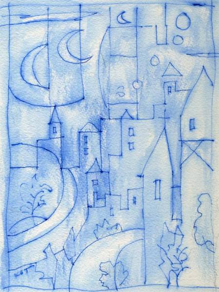 Blue city sketch idea for painting, blue in on watercolor paper, KGT
