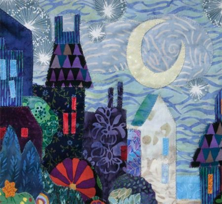Detail from cityscape art quilt, Karen Gillis Taylor