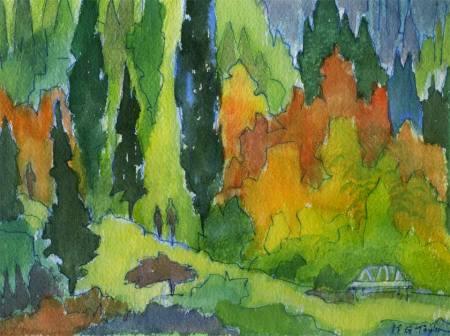 "Alpine Garden Watercolor, 2013, 6 x 8.25"", Karen Gillis Taylor"