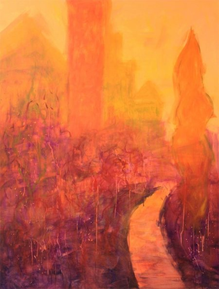 """Beginning painting, Orange Reverie, working title, 30 x 40"""" acrylic, Karen Gillis Taylor, Jan. 2014"""