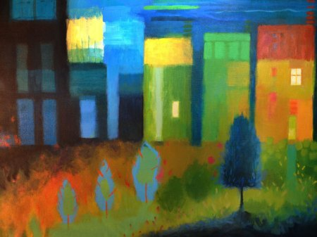 """Jan Town 2014"", detail from 18 x 24"" acrylic painting, unfinished, KGTaylor"