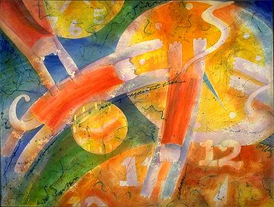 """""""Supercatman Races Against Time"""", watercolor, Karen Gillis Taylor"""