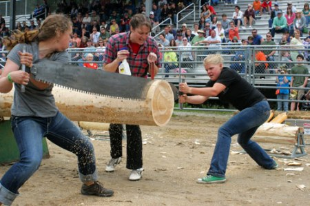 Logging competition, Libby, Montana. Women's event.