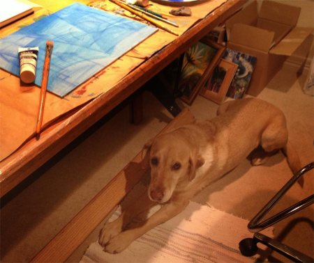 My friend Romie is keeping me company while I paint...