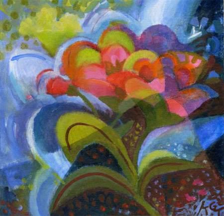 """""""June Blooms"""", Acrylic, 12 x 12"""", Karen Gillis Taylor"""