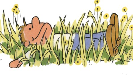 """Lie in the Weeds"", cartoon, Leslie Clark"