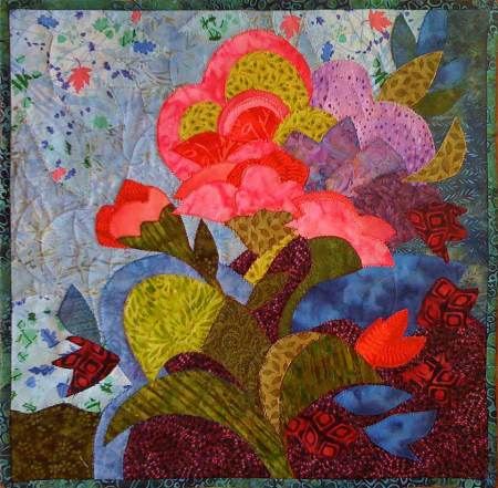 "June Blooms, art quilt, KG Taylor, 15.5 x 16""."