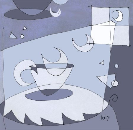 """Moon in a Cup"" drawing, ink and Photoshop tints, KGT"