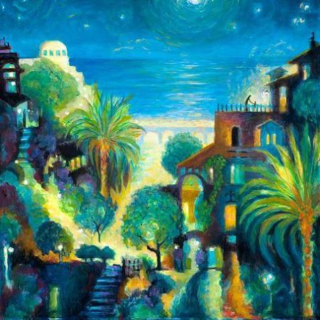 "Seaside Village, Acrylic, 24 x 24"", Karen Gillis Taylor"
