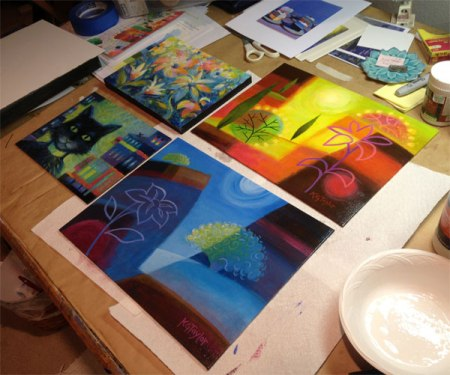 Decisions on varnishing paintings for the show at Osmosis Gallery in April 2014