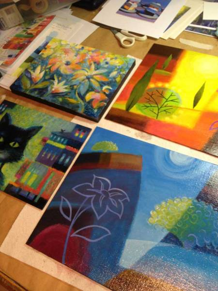 Four paintings, four decisions on varnishing