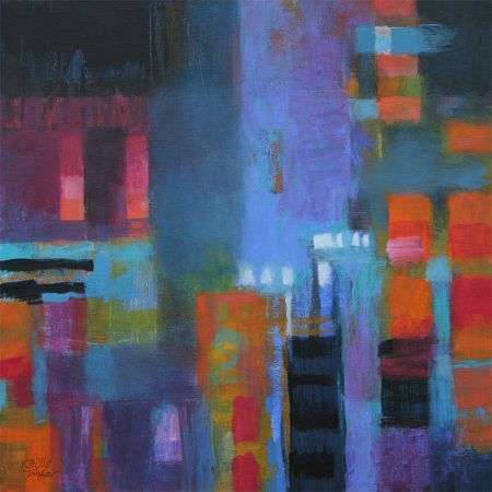 """April Rain"", Acrylic on board, 12"" x 12"" x 1 3/8"" deep, sides painted, KG Taylor"