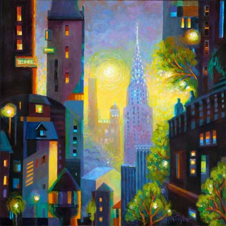 """""""Art Deco Dawn"""" , Acrylic on gallery-wrapped canvas, sides painted, 30"""" x 30"""", KG Taylor, 2012"""