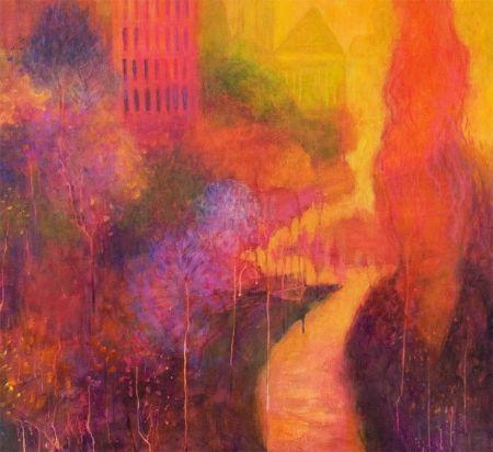 """Orange Reverie"", detail, acrylic, Karen Gillis Taylor, 2014"