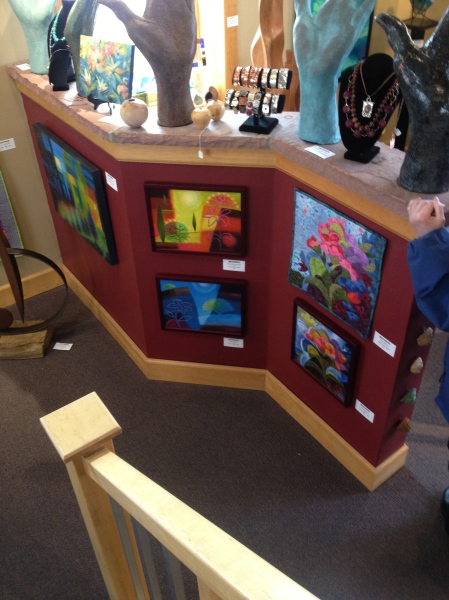 Five of my smaller art pieces displayed in a good use of the gallery space.