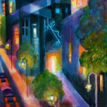 """""""Jazz Town"""", detail, acrylic, KG Taylor"""