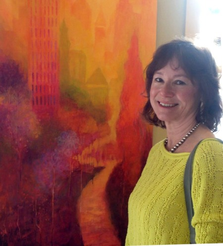 "Karen with ""Orange Reverie"" painting, detail, 2014"