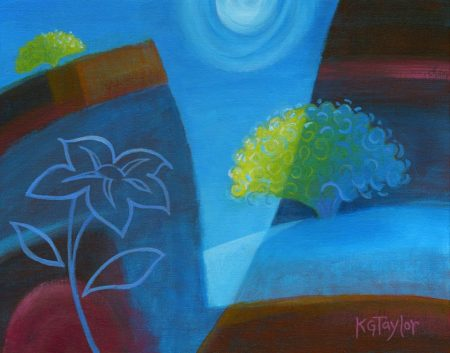 """Moonflower"", Acrylic, 9"" x 12"", framed, KG Taylor, 2014"