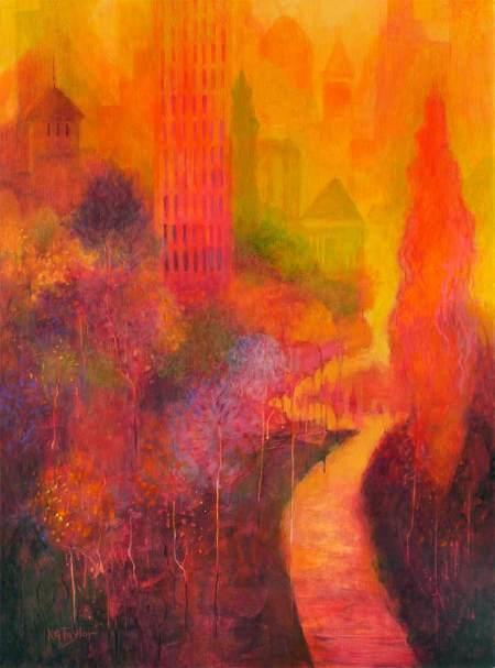"""Orange Reverie"", Acrylic, 30"" x 40"", sides painted, Karen Gillis Taylor, 2014"