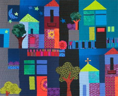 """Our Little Town"", art quilt, detail from larger piece, 48"" wide"