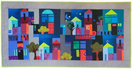 """Our Little Town"", art quilt, Karen Gillis Taylor, 48"" wide."