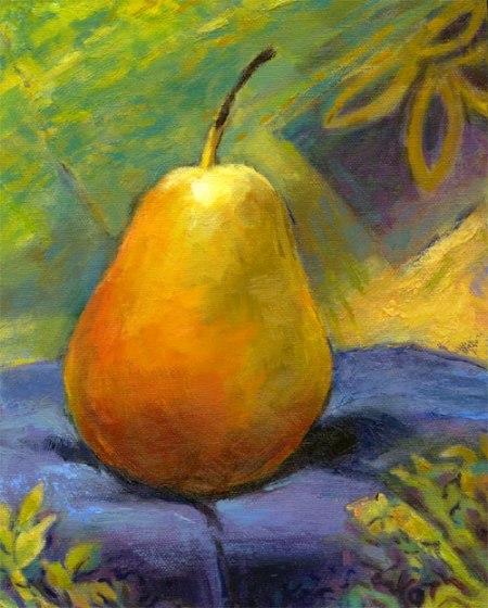 "Pear Painting, oil, 8 x 10"", Karen Gillis Taylor"