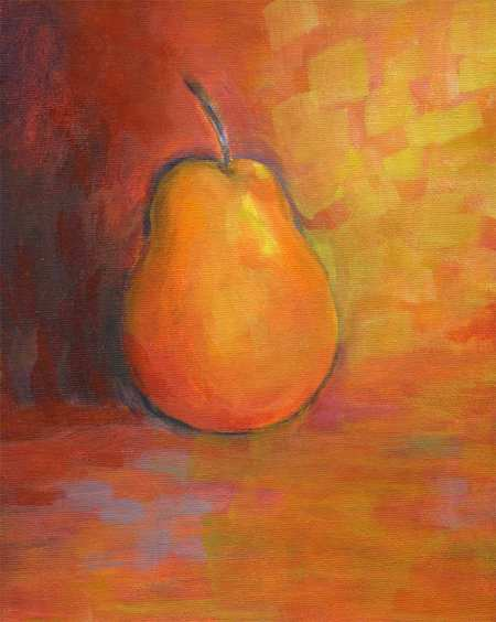 """A Simple Pear, in Orange,"" Karen Gillis Taylor, 8 x 10"", acrylic, c. 2007"