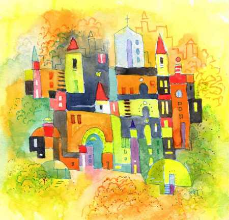 """Joyful Summer"", 7 x 7"" watercolor by Karen Gillis Taylor, in the ShimmerTown shop."