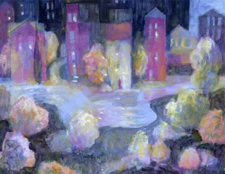 """Riverside Town"", 11 x 14"", acrylic, unfinished but close, Karen Gillis Taylor, 2014"