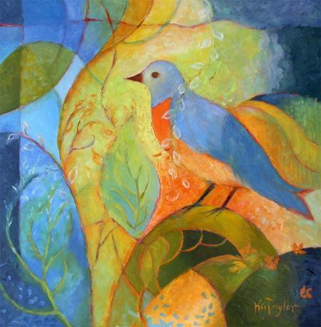 "Bird in Oils, 24 x 24"", Karen Gillis Taylor, 2014"