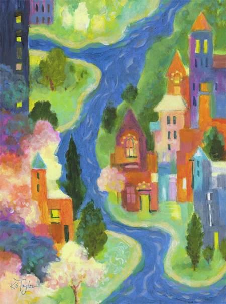 """River Town"", 9 x 12"" acrylic painting on wood panel, Karen Gillis Taylor, 2014"