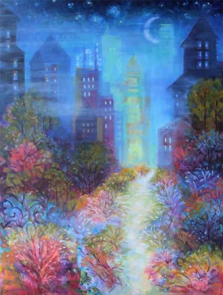 """Misty Evening"", 30 x 40"" acrylic on canvas, Karen Gillis Taylor"