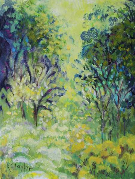 """Summer Woods"", acrylic on canvas, 12 x 16"", Karen Gillis Taylor, 2014"