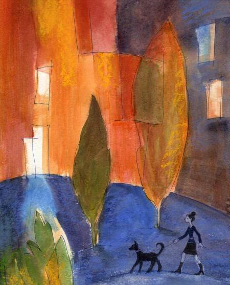 """Evening Walk"", watercolor, KGT"