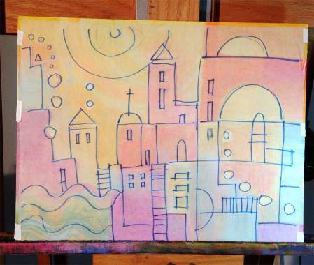 Underpainting with tracing paper sketch laid down over top of board. KGT