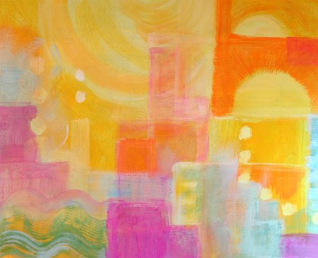 """Underpainting for new cityscape, KGT, 14 x 18"""", acrylic on board"""