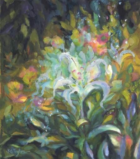 """The White Flower"", acrylic on gessoed paper, 11 x 14"", Karen Gillis Taylor, 2014"