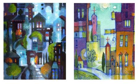 """2 color sketches for a new large art quilt, """"Night or Day?"""", Karen Gillis Taylor, 2014"""